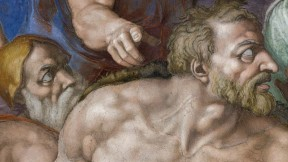 Head and torso of a man painted by Michelangelo on the Sistine Chapel ceiling.