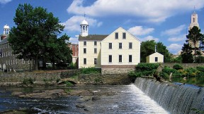 Scenic view of historic Slater Mill in Pawtucket, Rhode Island