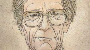 Illustrated portrait of John Rawls