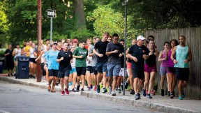 President Larry Bacow out for a run with students, August 28, 2018
