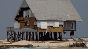 Photograph of Dauphin Island, Alabama, after Hurricane Katrina, 2005, illustrating risks of coastal development as climate change progresses