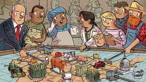A cartoon illustration showing a situation room with businessmen, farmers, and other food system constituents moving the parts of the food system around on a game board.