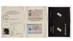 A spoof passport written in Spanglish for the fictional country El Spirit Republic of Puerto Rico, with a domino in place of a national seal on its cover