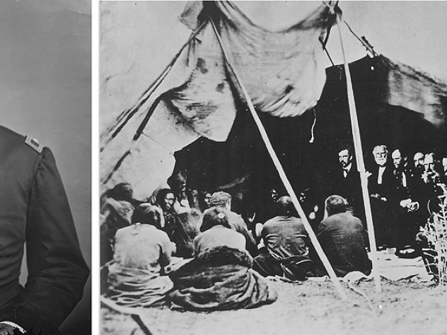 Photograph of General William Harney (at left) and photograph of the negotiating parties of the Sioux Treaty of 1868 under a tent