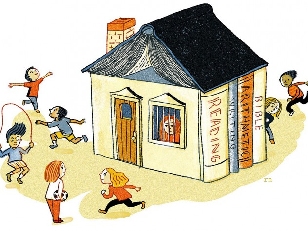 Children play outside while a homeschooled child watches through a window