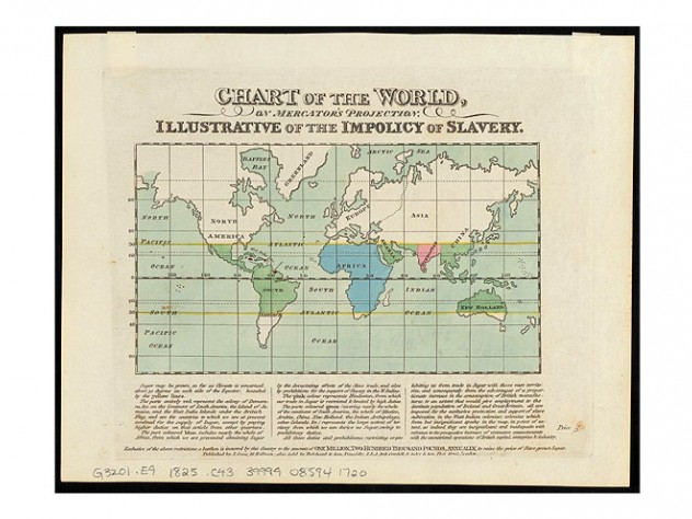 "Map of the world, ca. 1825, showing ""the impolicy of slavery"""