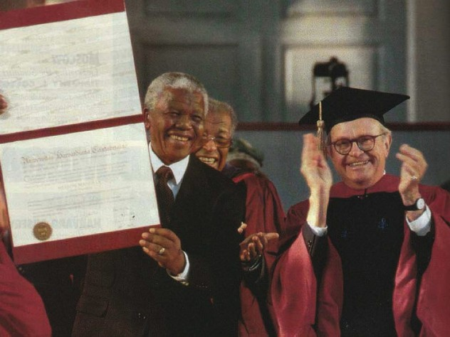 Photograph of Nelson Mandela receiving honorary degree and University Marshal Rick Hunt