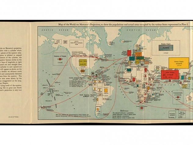 1916 world map showing populations and actual areas occupied by various countries