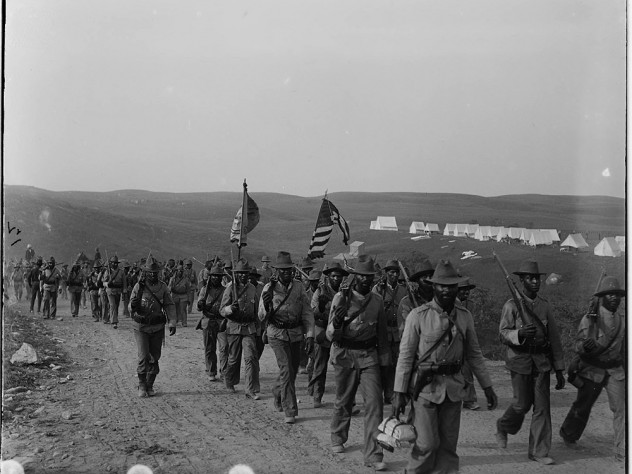 The U.S. Army's 24th Infantry Regiment, an African-American regiment, arriving at Camp Wiloff in Montauk, New York, 1898