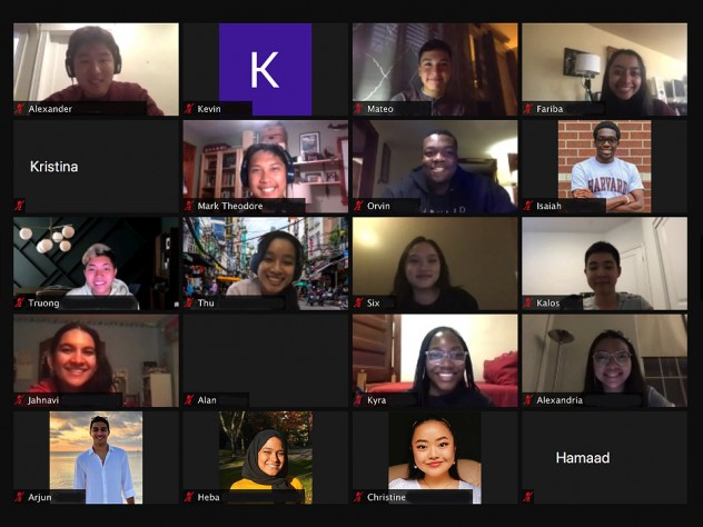 Group of people attending a virtual meeting