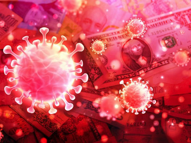 Scientific illustration of the SARS 2 virus over a backdrop of world currencies