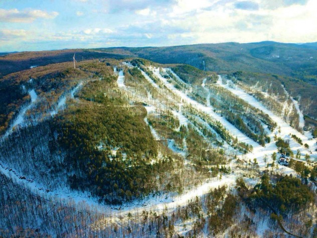 Aerial view of Berkshire East shows various trails, from beginner to skier-designed black-diamond routes