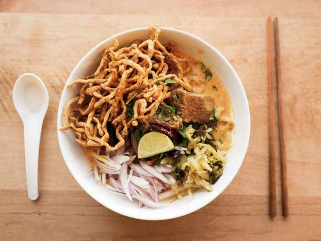 A bowl of khao soi brisket