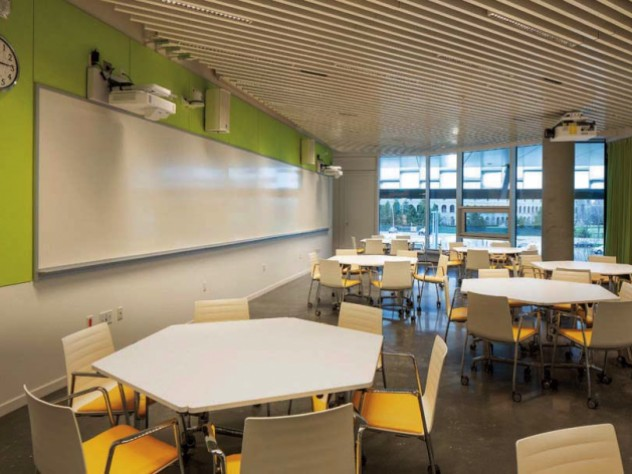 One of various flexible classrooms, filled with white hexagonal tables and bright yellow chairs