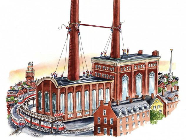 """A drawing showing a large crossbar being hauled into place between two tall smokestacks to make a giant """"H"""" for """"Harvard"""""""