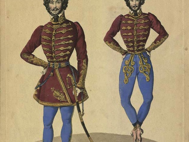 Two engraved images of Hungarian dancer Joseph Farkas dressed as a soldier