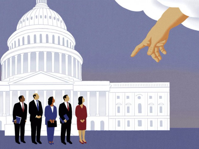 An illustration by James Steinberg shows a heavenly hand extending down to the U.S. Capitol and attempting to influence members of Congress