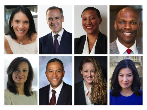 Photographic portraits of HAA nominating committee nominees for Harvard Board of Overseers: Top row, left to right: Christiana Goh Bardon, Mark J. Carney, Kimberly Nicole Dowdell, Christopher B. Howard. Bottom row, left to right: María Teresa Kumar, Raymond J. Lohier Jr., Terah Evaleen Lyons, Sheryl WuDunn