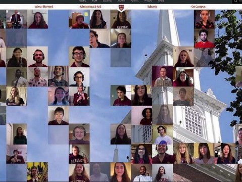 Screen shot of students from 2020 Harvard virtual degree-granting ceremony