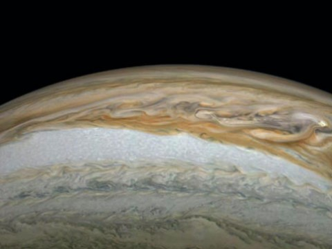 A close-up photograph of Jupiter, including its Great Red Spot