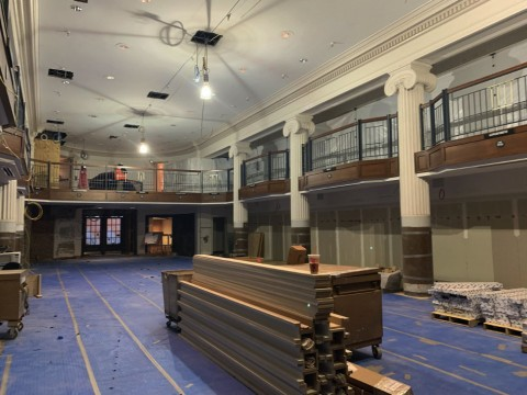 Construction on the main floor of the Harvard COOP.