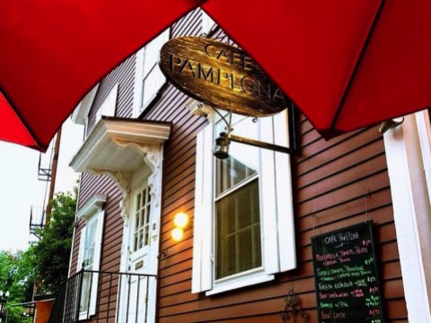 The Café Pamplona sign in Harvard Square