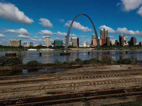The St. Louis, Missouri, skyline on the Mississippi River with the Gateway Arch visible, as seen from across the Mississippi River in East St. Louis, Illinois