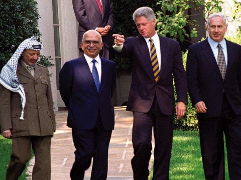 Bill Clinton with Yasser Arafat, King Hussein, and Benjamin Netanyahu, October 1, 1996, at the White House