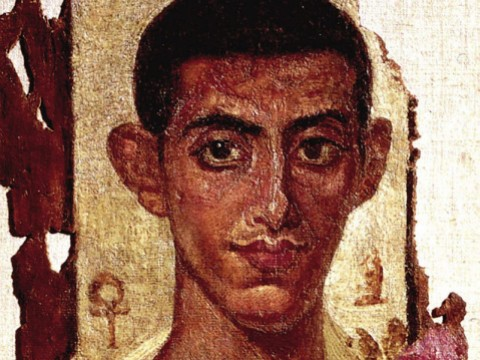 Painted portrait of a man from a Hellenistic coffin found in Egypt