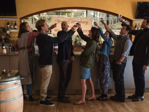 From left: Sam (Annie Parisse), Nick (Nat Faxon), Ethan (Keegan-Michael Key), Lisa (Cobie Smulders), Marianne (Jae Suh Park), Max (Fred Savage), and Felix (Billy Eichner)