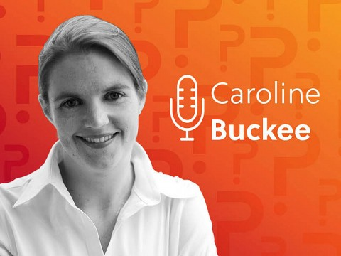 Caroline Buckee headshot over an orange background.