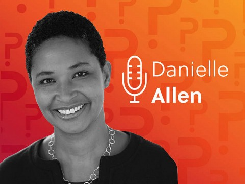 Danielle Allen headshot over an orange background.