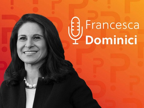 Francesca Dominici headshot over an orange background.