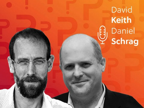 Daniel Schrag and David Keith headshots over an orange background